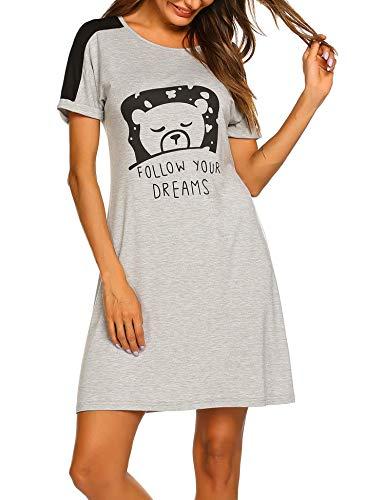 Unibelle Damen Nachthemd mit Witzigem Spruch-Print Nachtwäsche Kurz Ärmel Sleepshirt -