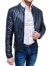 superior quality 2d084 ac05f Amazon.it: giubbotto ecopelle uomo - Blu / Uomo: Abbigliamento