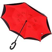 ToxTech C-Hook Umbrella doppio strato Umbrella maniglia antivento creativo invertito libero con la farfalla figura
