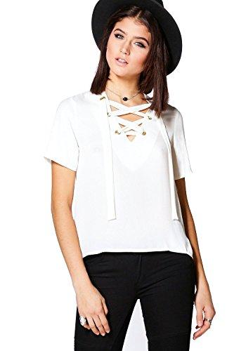blanc Femmes Charlotte T-shirt Manches Courtes Tissé À Lacets Blanc