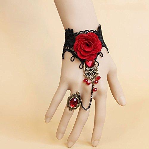 Romote Cinco Estaciones 1pcs Pulsera de Esclavo de Esclavo de Encaje Negro Retro Hecho a Mano con Flor de Tela y Resina roja Estilo gótico