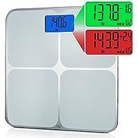 Smart Weigh Balance de salle de bain à mémoire intelligente avec 8 utilisateurs avec reconnaissance automatique, détection de changement de poids multicouleur, fonction de suppression de mémoire et grand écran LCD rétroéclairé