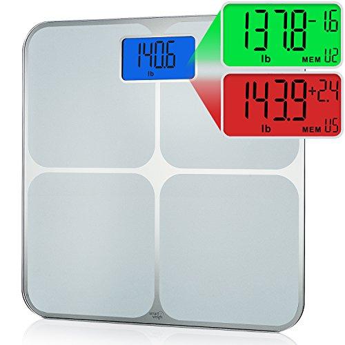 Smart Weigh Bilancia da bagno intelligente con memoria con riconoscimento step-on automatico di 8 utenti, rilevamento multi-colore di variazione del peso, funzione di eliminazione memoria e schermo LCD retroilluminato extra large, 200kg