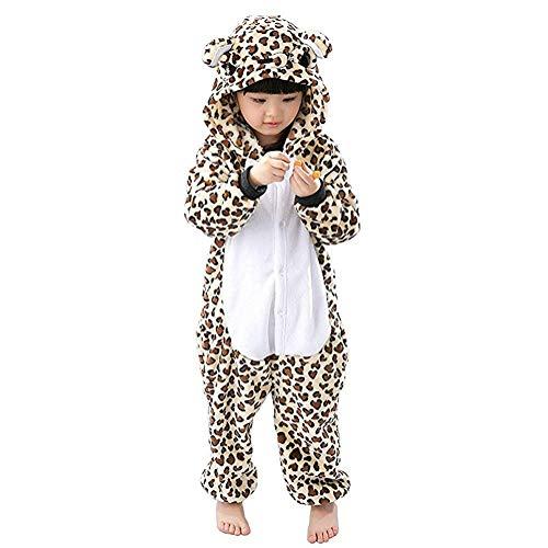 ABYED® Einhorn Kostüm Jumpsuit Onesie Tier Fasching Karneval Halloween kostüm Damen mädchen Herren Kinder Unisex Cosplay Schlafanzug, Leopard-bär, Größe 125 - für Höhe: 136-145 cm (9-11 Jahre) (Leopard Jumpsuit Kostüm)