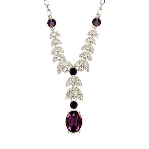 Cristalina Halskette, Rhodium-beschichtet, Belle Époque Kristall, Amethyst, Blattdesign, 43cm + 5cm (Epoque Belle Kostüme)
