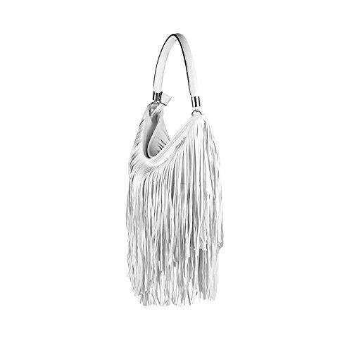 0521510aa0d41 ... ital-design Damen Tasche Fransen Shopper Hobo-Bags Umhängetasche  Schultertasche Handtasche Henkeltasche Schwarz Weiß ...