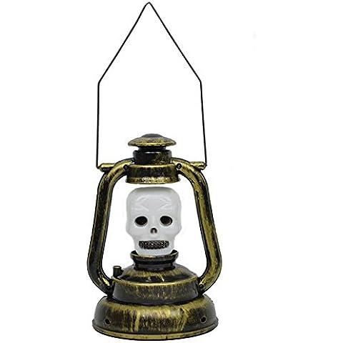 Pumpkin Lamp - Mano di Scheletro Zucca LED Lanterna Jack-O'-Lantern per Halloween / Decorazioni di Natale Della Luce di Cosplay con Effetti Sonori (Teschio)