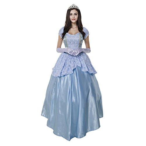 Kleid Kostüm Blau Prinzessin Aurora - VENI MASEE Prinzessin Dress Halloween Kostüm Frauen, einschließlich der Kopfbedeckung und Handschuhe - BlueA