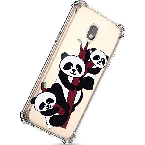 Kompatibel mit Samsung Galaxy J3 2017 Hülle, Herbests Handyhülle Transparent Schutzhülle Weich Dünn TPU Case Stoßfest Tasche Durchsichtige Handytasche Klar Bumper Handycover,Niedlich Panda