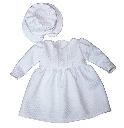 BIMARO Baby Mädchen Taufkleid Claire Babykleid weiß mit Hut Kleid festlich langarm schlicht Hochzeit Taufe, Größe:74