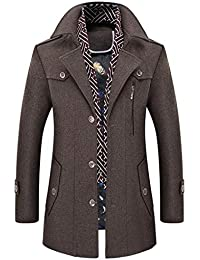 Herren Winter Wollmantel Lange Business Überzieher Schlank wärme Verdicken  Windbreaker Jacken + Schal, Dunkelblau  331e2b1447