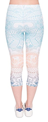 DD.UP Damen Strumpfhose Print 3/4 länge Yoga Leggings Workout Fitness Running Sport Pants Style-002