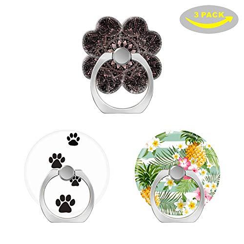 (OXone Pop Handy Finger Ring-Halterung Ständer Sockel mit Drei Auto Mount-Rose Gold Mandala Punkte und Marble-Tracks Dog Paw Schutzhülle Version-Tropical Blumen & Ananas)