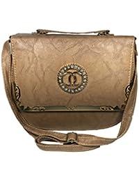 Bizarre Vogue Stylish Partywear Sling Bags Cum Handbags For Women & Girls (Adjustable Strap, Light Brown)