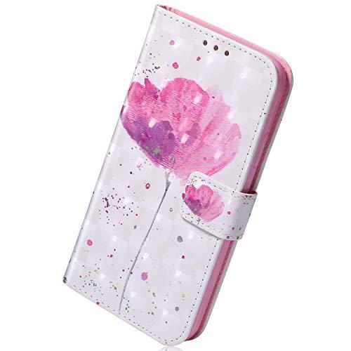 Herbests Kompatibel mit Samsung Galaxy S10 5G Handyhülle Leder Hülle Bunt Glänzend Glitzer Muster Klapphülle Flip Case Brieftasche Kartenfächer Schutzhülle Magnetverschluss,Rose Blumen