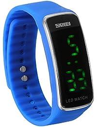 JewelryWe Reloj LED Deportivo Digital Azul Reloj de Pulsera Para Hombre Mujer, Relojes para Parejas Enamorados Buen Regalo para Navidad/ Cumpleaños