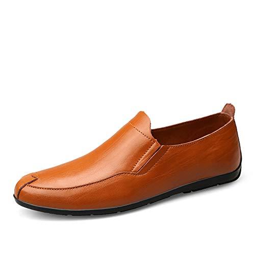 WEIIN Herrenmode Loafers Business Schuhe Echtes Leder Boot Breathable Laufen Walking Office Casual Täglichen Outdoor Trainer Braun Schwarz (Color : Braun, Größe : 39 EU) -