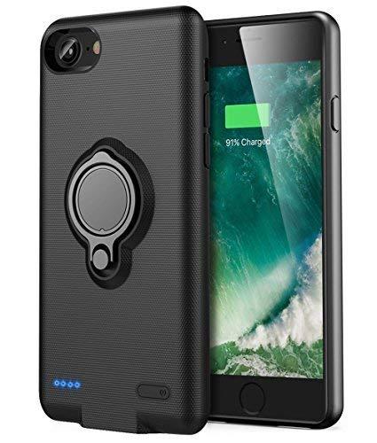s Akku Hülle - Veepax Premium 7200mAh Tragbarer Ladekoffer Verlängerte wiederaufladbare Power Bank mit Ringhalter Ständer für Apple iPhone 6 Plus/6s Plus (5.5 Zoll) - Schwarz ()