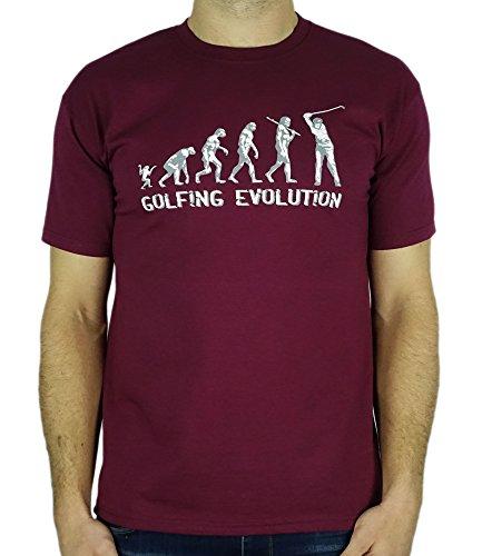 Golf Evolution - Cadeau d'anniversaire drôle / Présent T-Shirt Bordeaux M