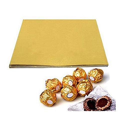 ericotry 10010,2x 10,2cm Gold Aluminium-Candy Wrappers Schokolade Wrappers Zucker Packungen Papier für DIY Süßigkeiten und Schokolade Verpackung oder Dekoration
