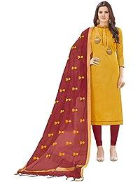 Women'S Yellow Semi Stitched Embroidered Banglori Cotton Dress Material