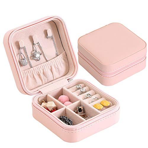 XdremYU Aufbewahrungsbox Faltbarer Organizer Stapelbarer Behälter Cube Korb Kunst und Handwerk Tragbare Schmuck Organizer Collection Halskette Ring Ohrringe Fall für Schlafzimmer Frauen Mädchen Pink -