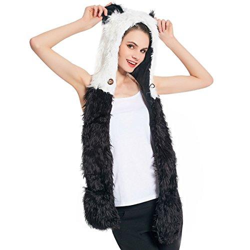 Kunstpelz Animal Hat Schal Handschuhe Fäustlinge 3-in-1 Funktion Furry Hoodie mit Pfoten Ohren (Panda) Animal Hoodies Mit Ohren