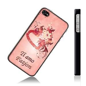 """""""Ti Amo"""", progettato per Fatjon, Rosa Custodia rigida con bordi neri per iPhone 4S."""