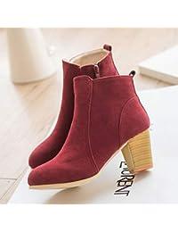 8410157a750ee JUWOJIA Otoño Invierno Botas Mujer Zapatos Sólidos Botines De Piel De Gamuza  con Espeso Matorral Martin