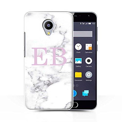 Personalisiert Weiß Marmor Mode Hülle für Meizu M2 Note/Rosa Stempel Design/Initiale/Name/Text Schutzhülle/Case/Etui