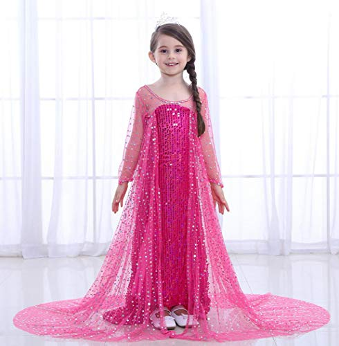 ZYLL Kinder Prinzessin Kleid, Cosplay Pageant Dress up Karneval Kostüm Party Outfits,Pink,110CM (Kinder Pageant Kleider Pink)