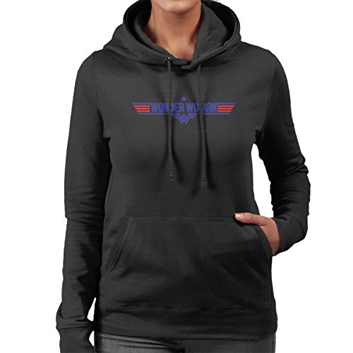 Wonder Woman Top Gun Logo Women's Hooded Sweatshirt Black