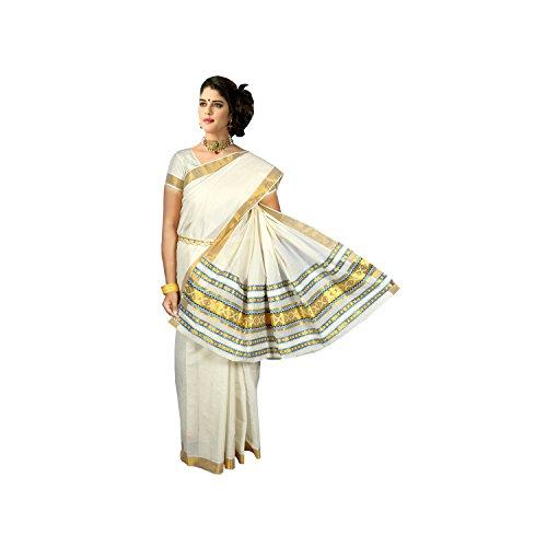 Kerala Sarees Womens Handloom Cotton Saree(saree0014_Off White_Free Size)