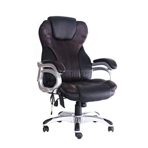 FoxHunter Luxus-Bürostuhl mit 6-Punkt-Massage und Liege-/Schwenkfunktion, hohe Rückenlehne MC8074,Schwarz/Weiß