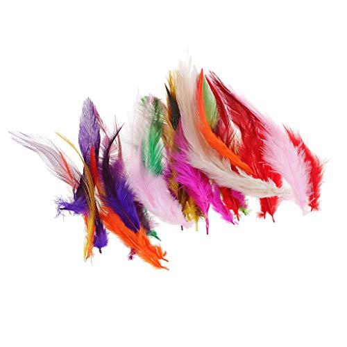 Fenteer 30 Stück Bunte Hahnenfedern Flügelfedern Hahn Federn Pad Feather Schmuckfeder DIY Kostüm Feder Zimmerdeko Grün