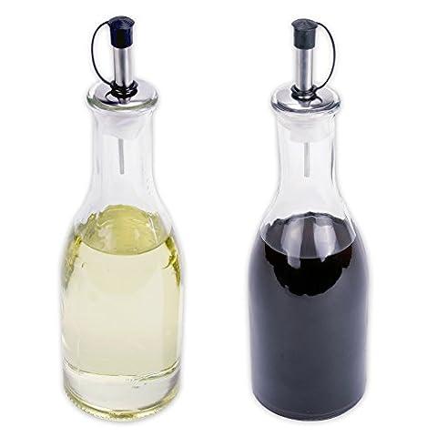 Essig & Öl Spender Flasche aus Glas mit Ausgießer je 275 ml im 2er-SET
