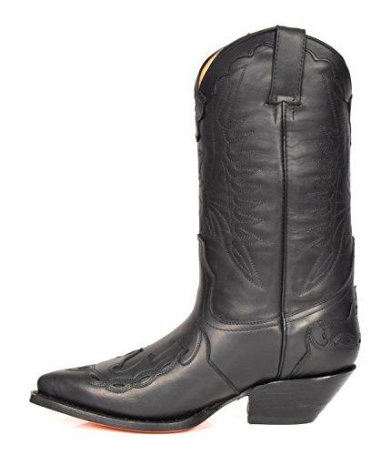 House of Luggage Bottes de Cowboy en Cuir Véritable Pour Homme Talon Western Longueur du Mollet Chaussures HLG0AR Noir