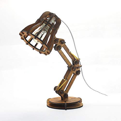 WPCBAA Lámpara de Escritorio de Madera Pixar lámpara de Estudio clásica Retro Personalidad Creativa Montaje Manual Luces DIY, Interfaz de Tapa de lámpara E27