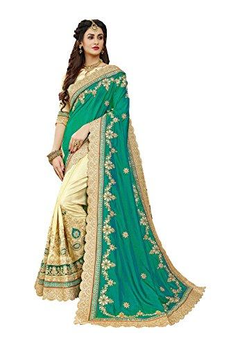 Indian Sarees for Women Wedding Designer Party Wear Traditional Green & BeigeSari.