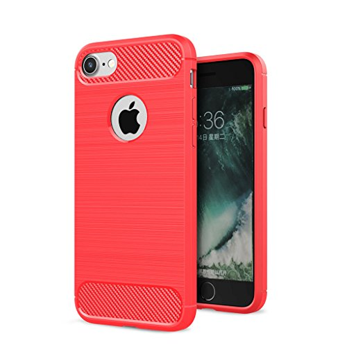 "Coque iPhone 7 , IJIA Ultra-mince Haut Luxueux Gris TPU Doux Silicone Bumper Case Cover Shell Housse Etui pour Apple iPhone 7 4.7"" red"
