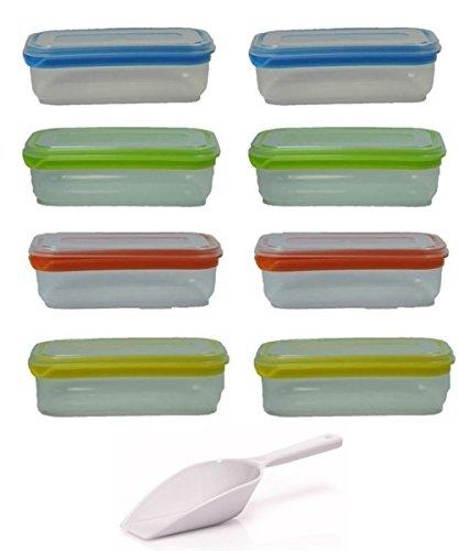 Viva-Haushaltswaren - 8 Gefrierdosen / Frischhaltedosen 1,0 Liter - farbig sortiert / 20x6x12cm - inkl. einer Schaufel