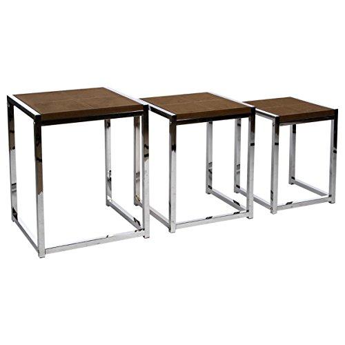 Set di 3 tavolini sovrapponibili da salotto in tessuto effetto pelle scamosciata - Stile vintage (Pelle Appartamento Divano)