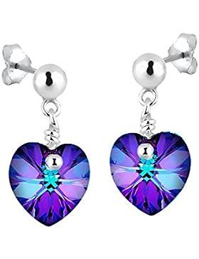 Elli Damen-Ohrstecker Herz 925 Sterling Silber mit Swarovski Kristallen von Swarovski Herzschliff rosa   - 0311871414