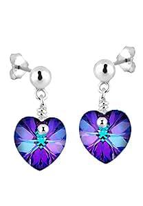 Elli Damen-Ohrhänger Herz 925 Sterling Silber Swarovski Kristall violett Brillantschliff 304932412