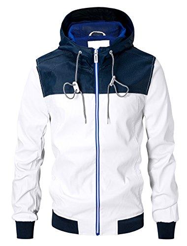 Uomini giacca in ecopelle con cappuccio cappotti (Large, bianco)