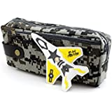 SHERAGO™ Pen/Pencil Box For Girls & Boys || Best Suitable For School Kids, Travelers And Students || Multipurpose Box/Case Military Print With Airplane (Grey)
