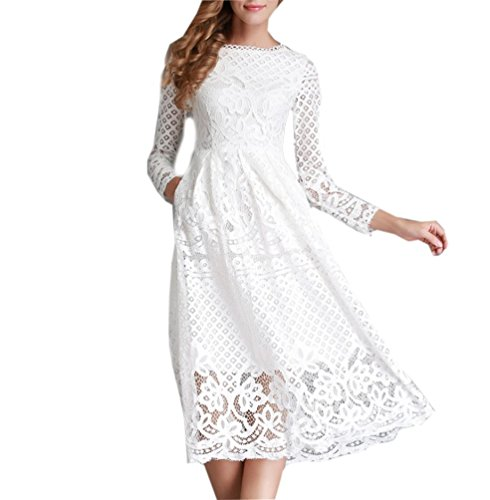 Ghope Femme Robe Elegant Robe Manches Longue en Dentelle Épaule pour Mariage Robe De Cérémonie Soirée Cocktail Robe pour Demoiselle D'honneur Blanc