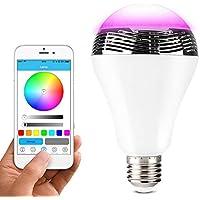 Lunvon Bombilla Bluetooth Inalámbrica Bluetooth 4.0 Altavoz Bombilla de Luz LED Multicolor Regulable Con la Aplicación Gratuita Controlada, Cambiar LED de 16 Millones de Color