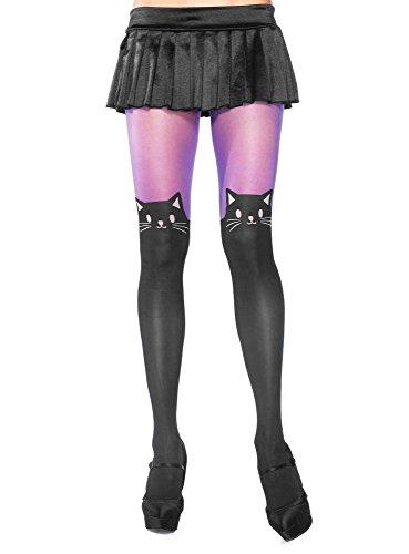 Leg Avenue 7908 - Transparente Blickdichte Strumpfhose mit Katzen Print, Einheitsgröße, schwarz/lila