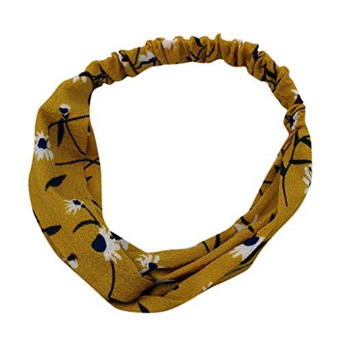 Bruder Schwester Und Cute Kostüm - LABIUO Damen Stirnband,Neu Boho Vintage Blumendruck Verdrehte Stirnbänder Mode Elastische Weiche Stirnband Haarband(Gelb,One Size)